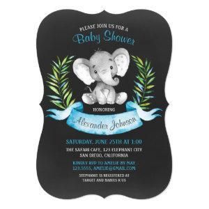 Chalkboard Watercolor Elephant Boy Baby Shower Invitation