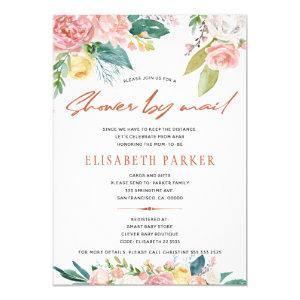 Change of plans pink floral baby shower by mail invitation