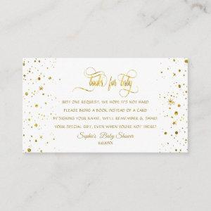Charm Gold Starry Night Baby Shower Book For Baby Enclosure Card