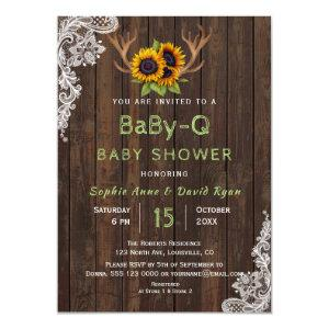 Charm Sunflowers Antlers BaBy-Q Baby Shower Invitation