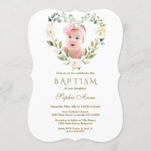 Charming White Flowers Floral Girl Photo Baptism