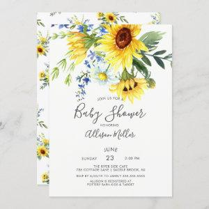 Cheerful Yellow Sunflower Floral Baby Shower Invitation