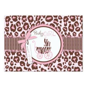 Cheetah Girl Invitation Card Pink B