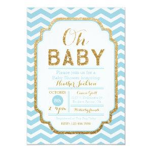 Chevron Blue And Gold Boy Baby Shower Invitation