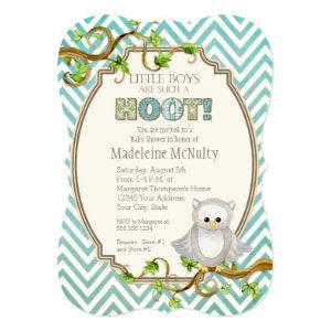 Chevron Striped Hoot Owl Little Boys Baby Shower Invitation