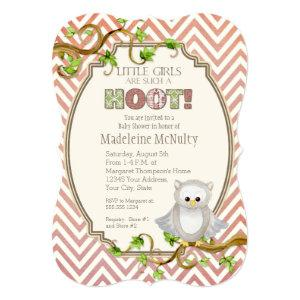 Chevron Striped Hoot Owl Little Girls Baby Shower Invitation