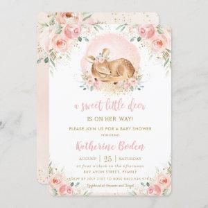Chic Blush Floral Baby Deer Girl Baby Shower Invitation
