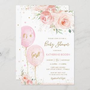 Chic Blush Pink Floral Balloons Gold Baby Shower Invitation
