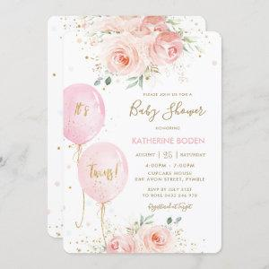 Chic Blush Pink Floral Balloons Twins Baby Shower Invitation