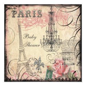 Chic Eiffel Tower & Chandelier Baby Shower Invitation