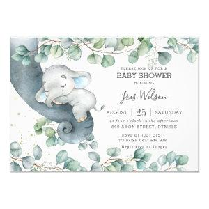 Chic Elephant Leafy Greenery Baby Shower Boy Invitation