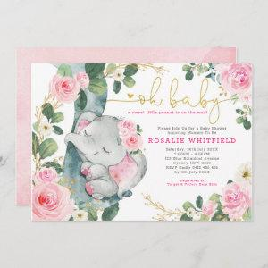 Chic Elephant Pink Roses Greenery Girl Baby Shower Invitation