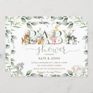 Chic Farm Animals Greenery Baby Shower Neutral Invitation