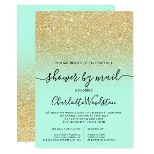Chic gold glitter mint cancelled shower by mail invitation