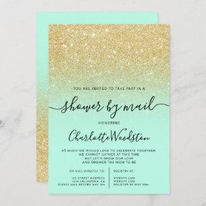 Chic gold glitter mint cancelled shower by mail