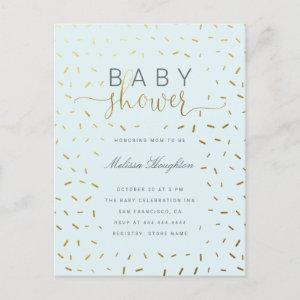 Chic Gold Sprinkle Confetti Script Baby Shower Invitation Postcard