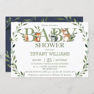 Chic Greenery Rustic Woodland Animals Baby Shower Invitation