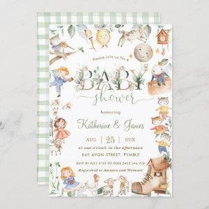 Chic Nursery Rhyme Greenery Baby Shower Neutral Invitation