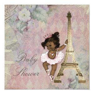 Chic Paris Ethnic Princess Ballerina Baby Shower Invitation