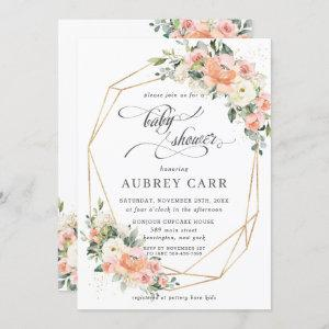 Chic Peach Ivory Pink Floral Baby Shower Geometric Invitation