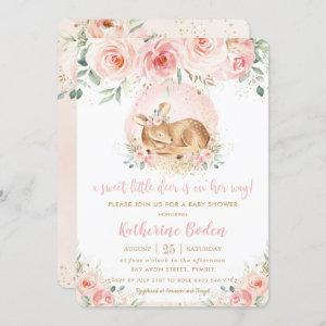 Chic Pink Floral Cute Baby Deer Girl Baby Shower Invitation