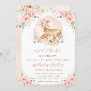 Chic Pink Floral Cute Deer Fawn Girl Baby Shower Invitation