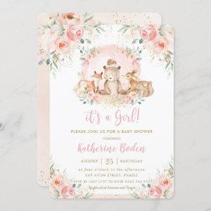 Chic Pink Floral Woodland Animals Girl Baby Shower