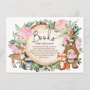 Chic Pink Floral Woodland Greenery Books for Baby Enclosure Card