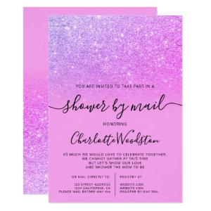 Chic pink glitter purple cancelled shower by mail invitation