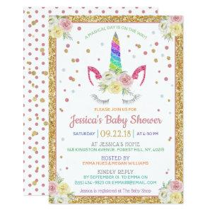 Chic Rainbow Glitter Unicorn Baby Shower Invitation