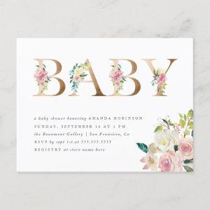Chic Typography Watercolor Floral Gold Baby Shower Invitation Postcard