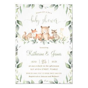 Chic Woodland Animals Greenery Baby Shower Neutral Invitation