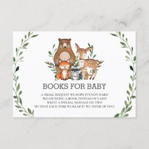 Chic Woodland Animals Greenery Books for Baby Card