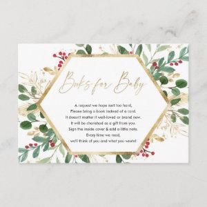 Christmas red greenery gold books for baby enclosu enclosure card