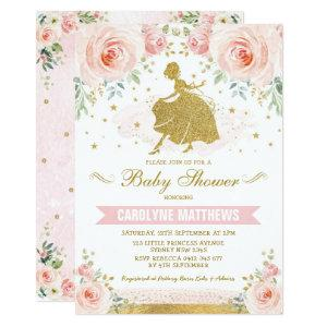 Cinderella Princess Blush Floral Girl Baby Shower Invitation