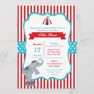 Circus Carnival Big Top Baby Shower Invitations