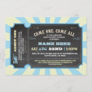 Circus Carnival Blue Boy Baby Shower Invitation
