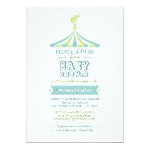 Circus Carnival Blue Green Baby Shower Invitation