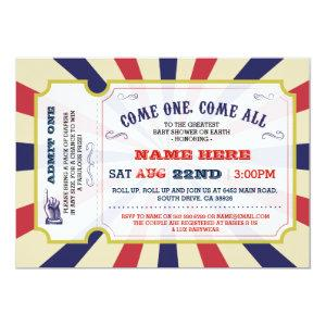 Circus Carnival Gender Reveal Baby Shower Invite