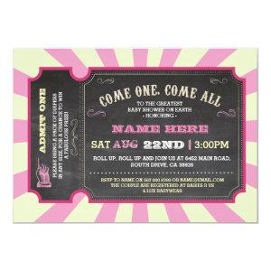Circus Carnival Pink Girl Baby Shower Invitation