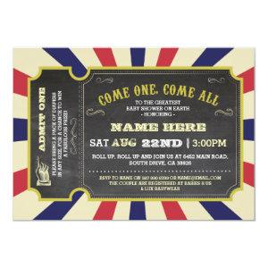 Circus Carnival Ticket Red Blue Baby Shower Invite