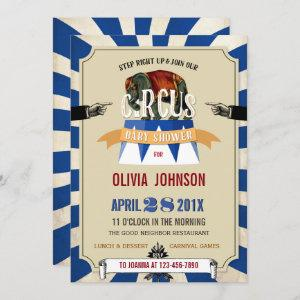 Circus Elephant Blue Boy or Girl Baby Shower Invitation