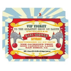 Circus or Carnival Ticket Baby Shower Invitation