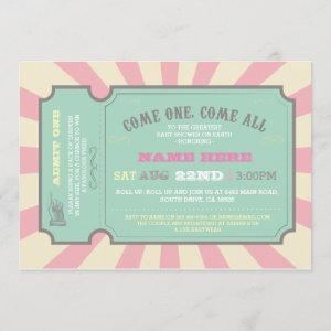 Circus Ticket Pink Baby Shower Invitation