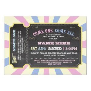 Circus Ticket Pink Blue Ticket Baby Shower Invite