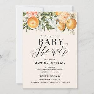 Citrus, orange + blossom virtual baby shower