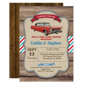 Classic car baby shower invitation. Vintage red Invitation