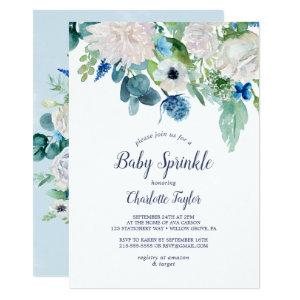 Classic White Flowers Baby Sprinkle Invitation