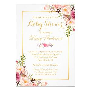 Classy Chic Floral Golden Frame Baby Shower Invitation