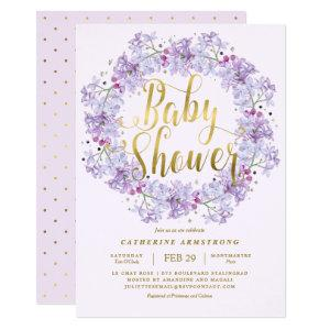 Classy Light Purple Gold Floral Wreath Baby Shower Invitation